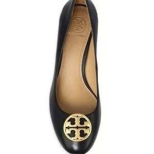 Tory Burch Chelsea Leather Wedge Pumps sz 8.5